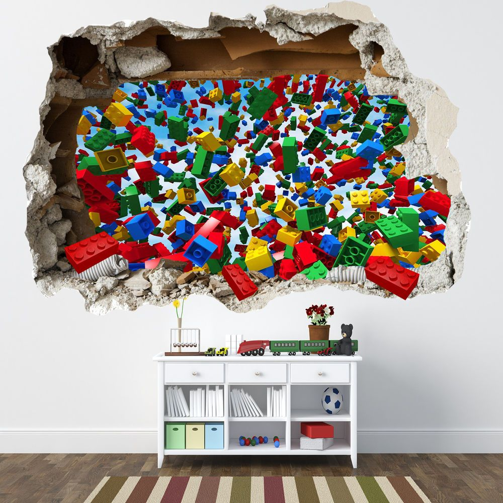 LEGO SMASHED WALL STICKER   3D BEDROOM LEGO BRICKS BOYS GIRLS DECAL