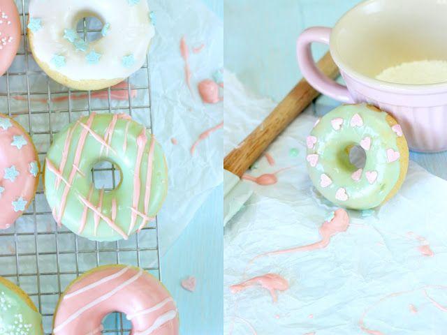 Miss Blueberrymuffin's kitchen: Pastell-Traum: Gebackene Vanille-Donuts