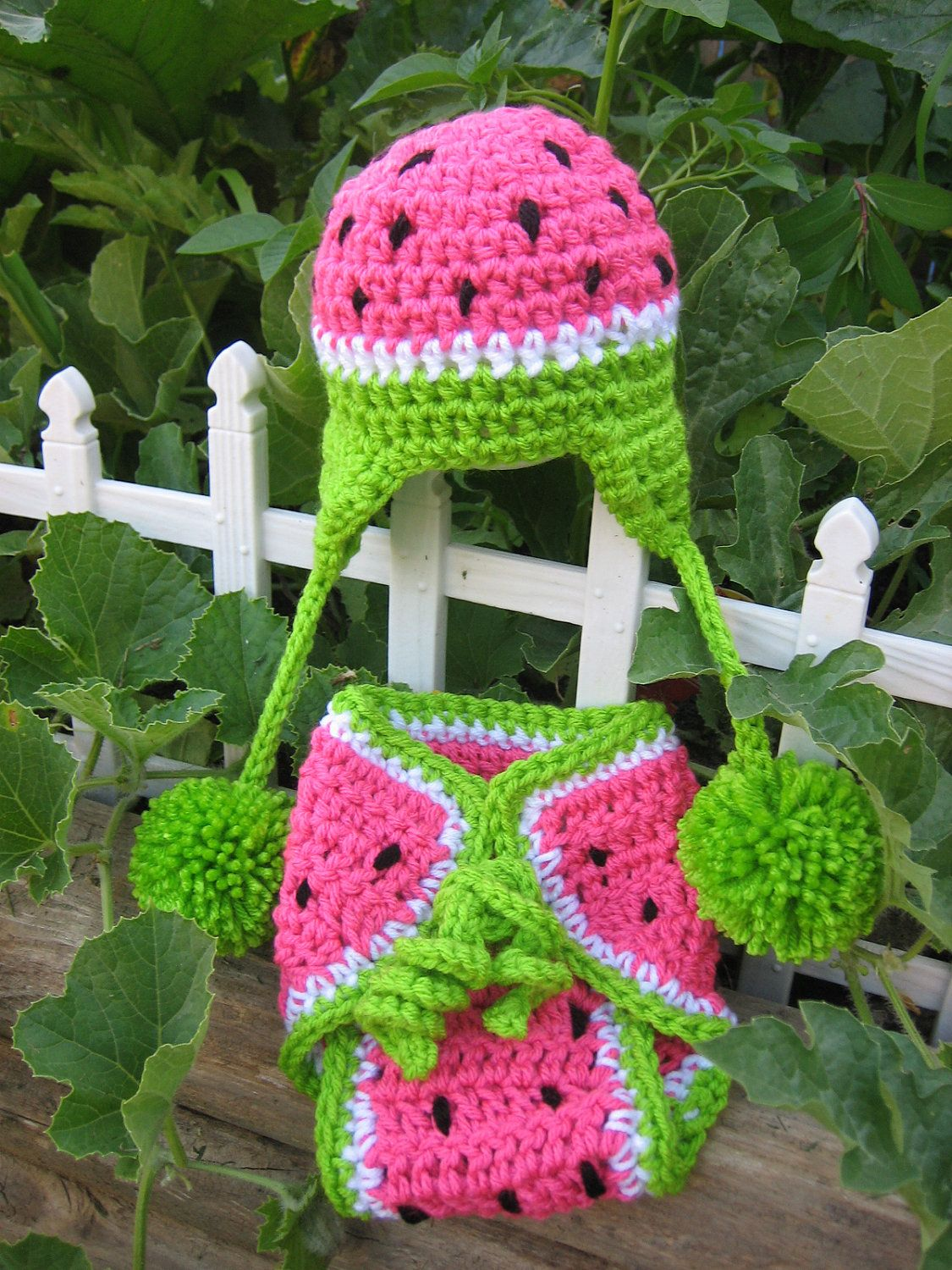 6d389688ea7 Crochet Baby Watermelon Earflap Hat with matching Diaper Cover - Photo Prop  - made to order.  30.00