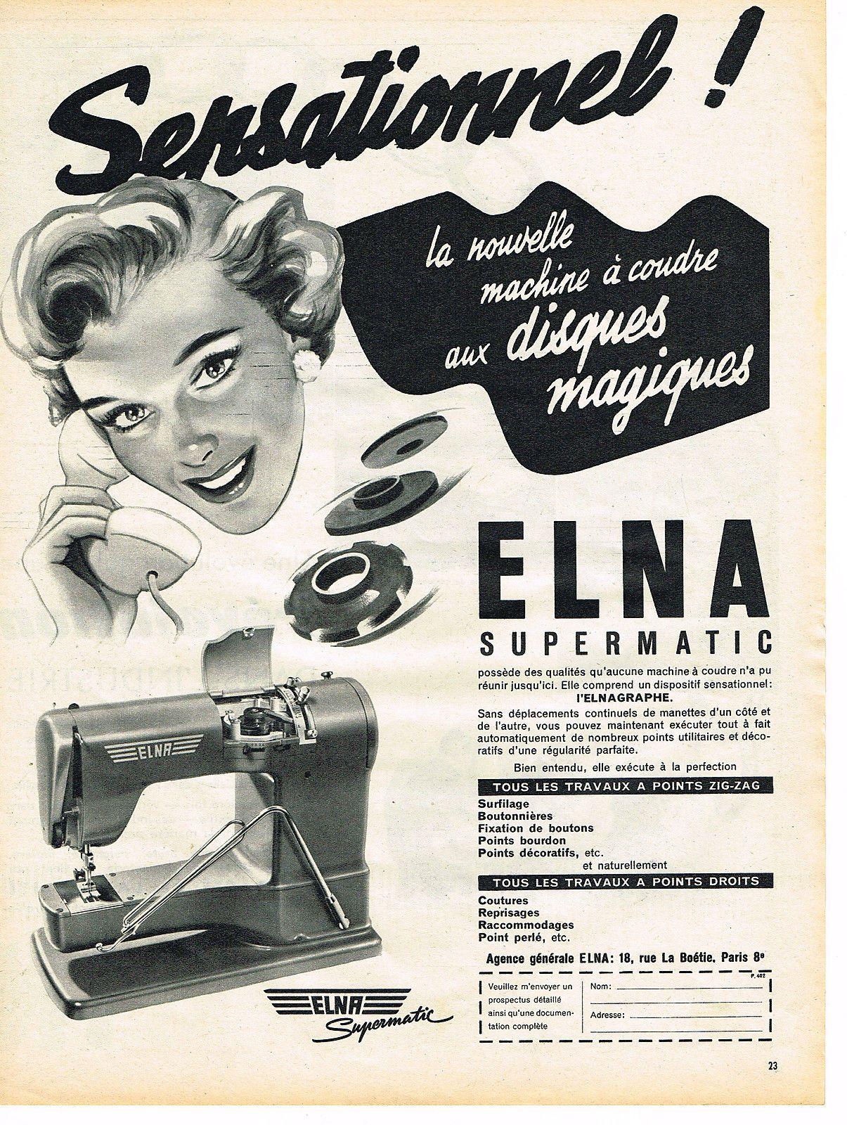 publicite advertising 1954 elna machine coudre ebay elna vintage pinterest coudre. Black Bedroom Furniture Sets. Home Design Ideas