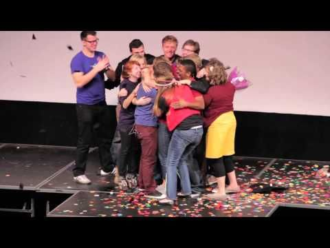 Studio C's/ Divine Comedy are a BYU skit crew, so talented, funny, and adorable. Stephen and Whitney, two of the members, have been dating for a while and in December, he asked her to marry him, on stage, with their friends, and their audience. :) Makes me so happy!  :)