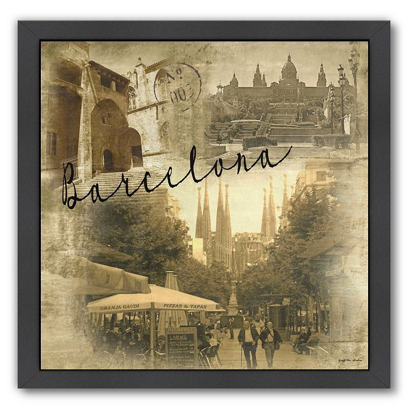 "Americanflat ""Barcelona Vintage"" Framed Wall Art, Multicolor"
