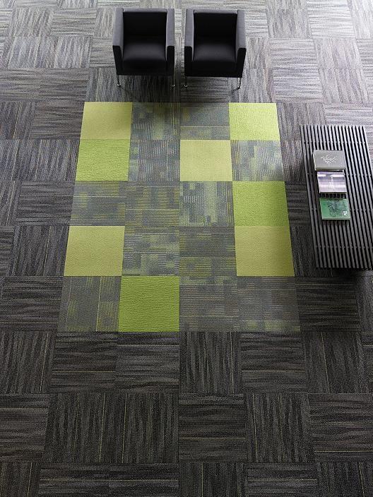 Lounge Flooring Tangle Tile Design Concept Using Orange Blue As Accent Stripe See Actual Sample With Yellow Carpet Tiles Carpet Tiles Cheap Patterned Carpet