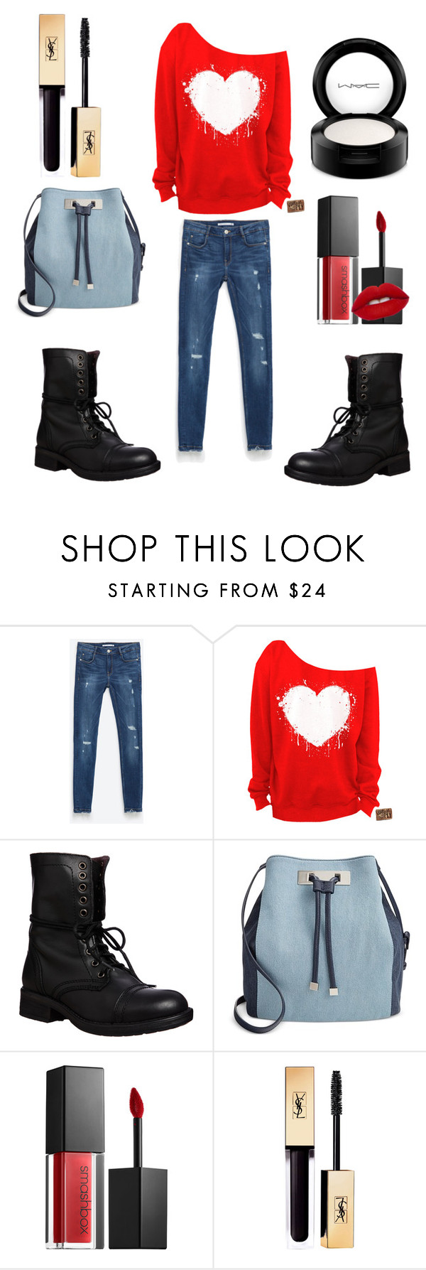 """""""Red, white, and Blue"""" by wolfy-black ❤ liked on Polyvore featuring Zara, Steve Madden, INC International Concepts, Smashbox, MAC Cosmetics, redwhiteandblue and july4th"""