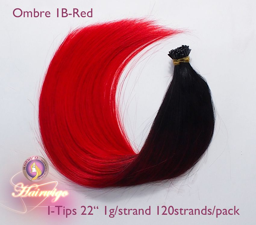 I Tip Hair Ombre Colorgradient From Dark To Red Human Hair