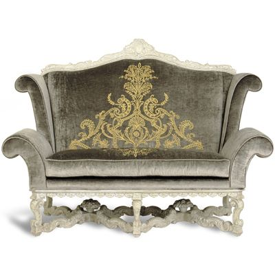 Phyllis Morris Renaissance Love Seat DESCRIPTION Wingback Loveseat With  Hand Carved Cartouche Atop Seat Back