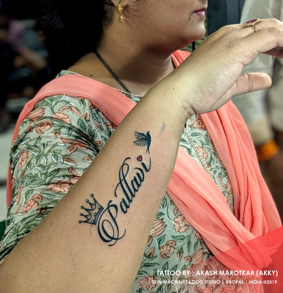 Name tattoo beautifully designed and done by Akash