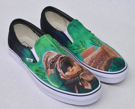 1d95bb4cb3 Hand Painted Fish Vans Slip Ons Custom by BStreetShoes on Etsy ...