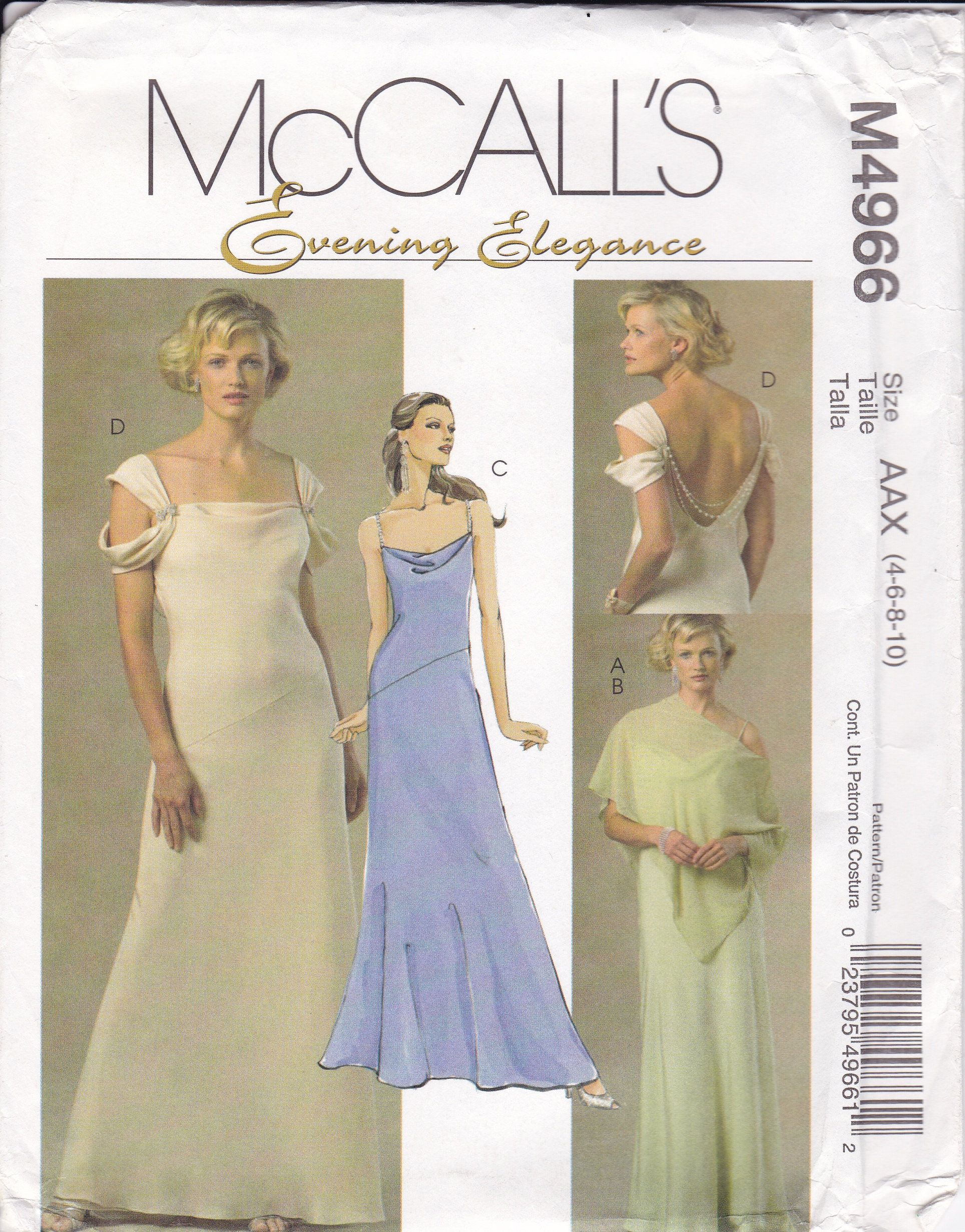Free Us Ship Mccall S 4966 Evening Elegance Dress Capelet Poncho Wedding Prom Sewing Pattern Size 4 6 Wedding Dress Sewing Patterns Gown Sewing Pattern Dresses [ 2460 x 1928 Pixel ]