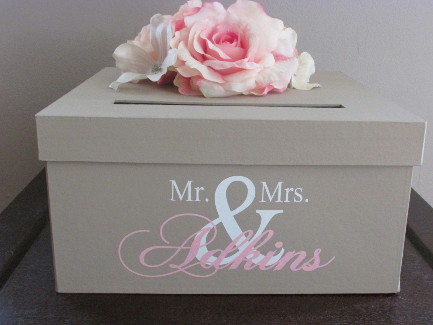 Large rustic wedding card box holder with heart initial rustic