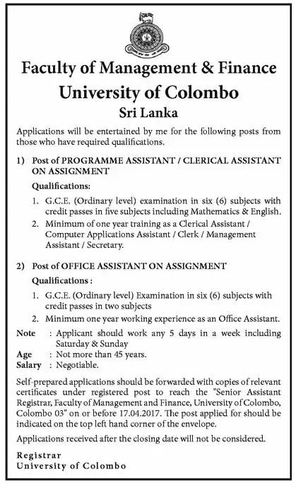 Programme Assistant Clerical Assistant Office Assistant At