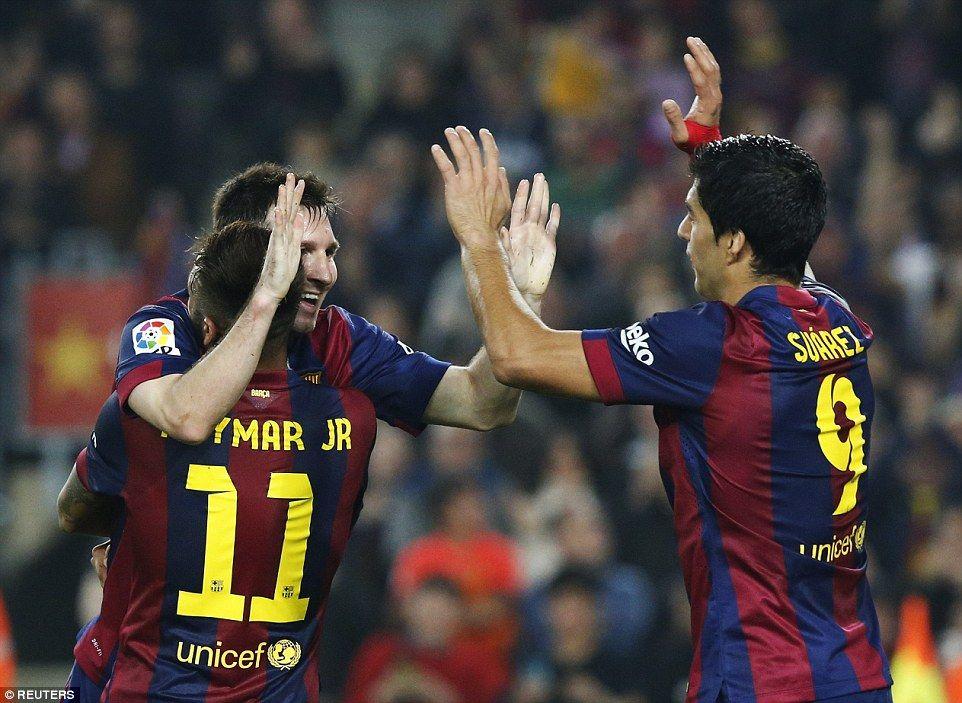 Barcelona 5 1 Sevilla Messi Becomes La Liga All Time Top Goalscorer Barcelona Team Messi Luis Suarez
