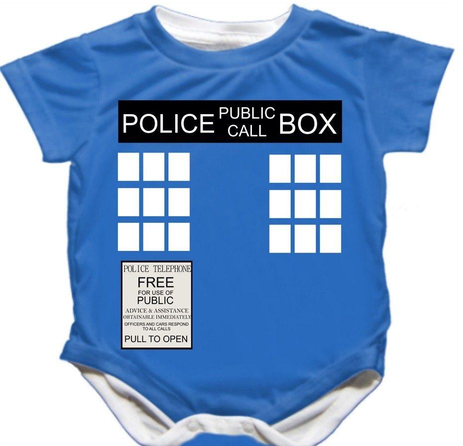 DOCTOR WHO STYLE TARDIS BABY VEST BABYGROW GIFT BOY GIRL POLICE BOX PERSONALISED
