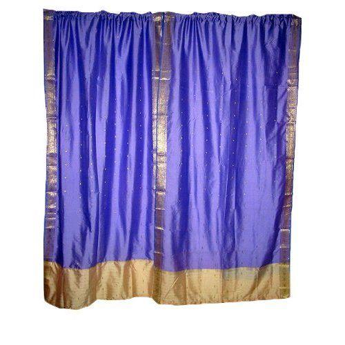 Amazon.com: India Curtains 2 Lavender Artsilk Sari