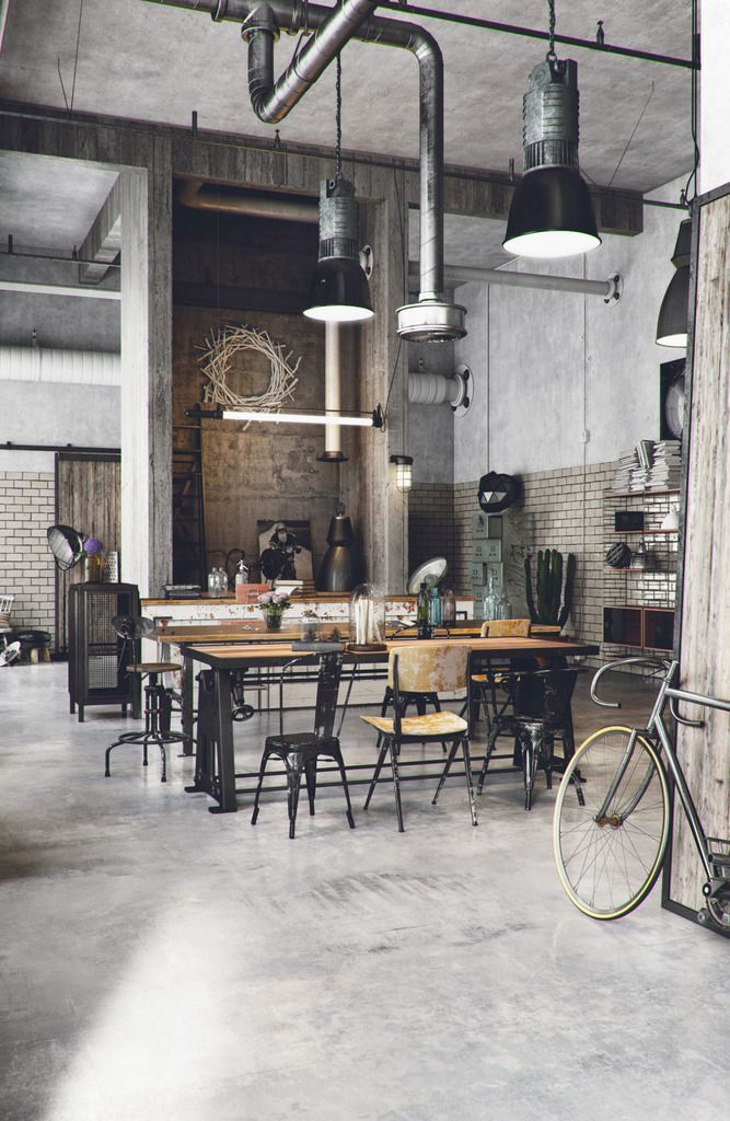 image result for industrial restaurant decor