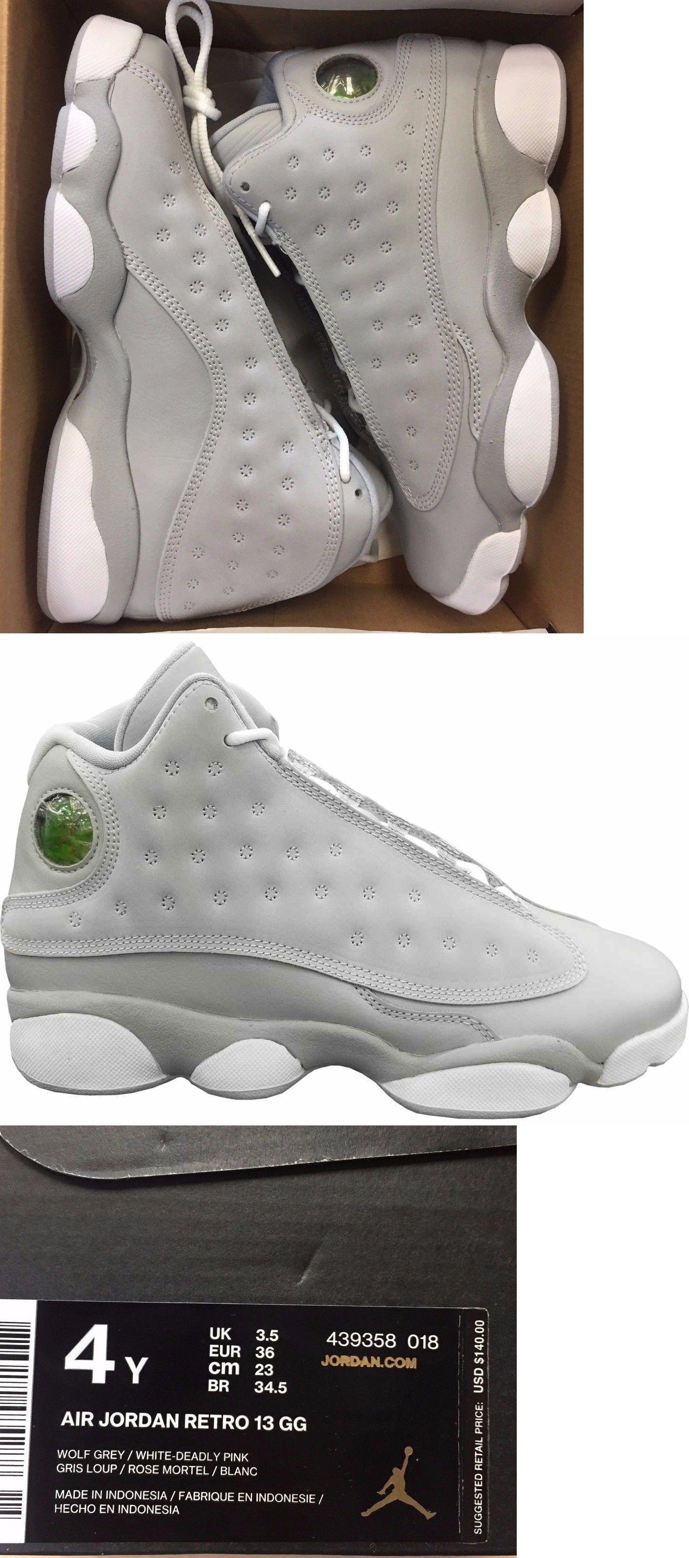 Girls Shoes 57974: Nike Air Jordan Retro 13 Xiii Wolf Grey Deadly Pink  Hyper 439358