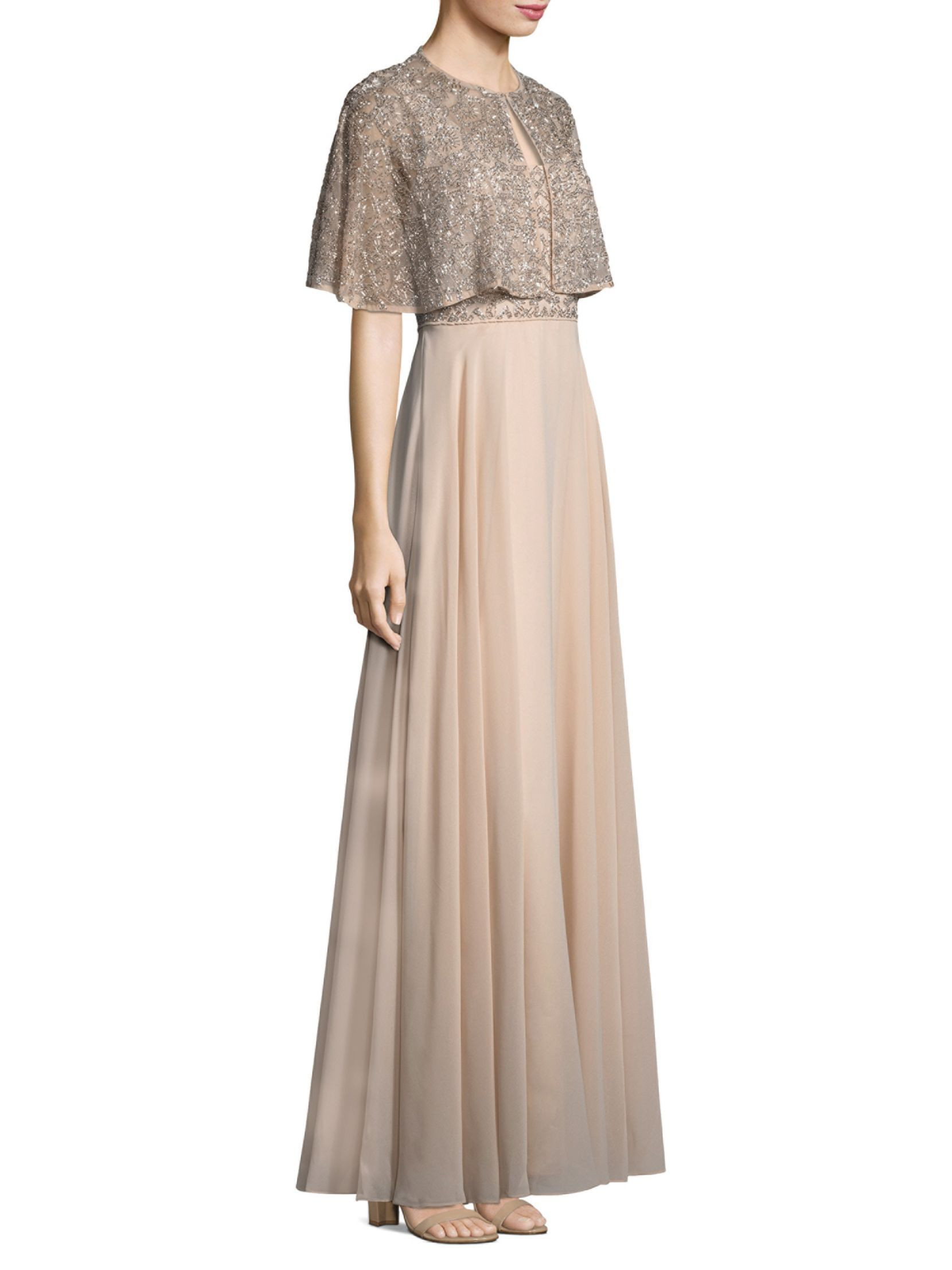 Aidan mattox beaded aline gown and cape set fashion fit