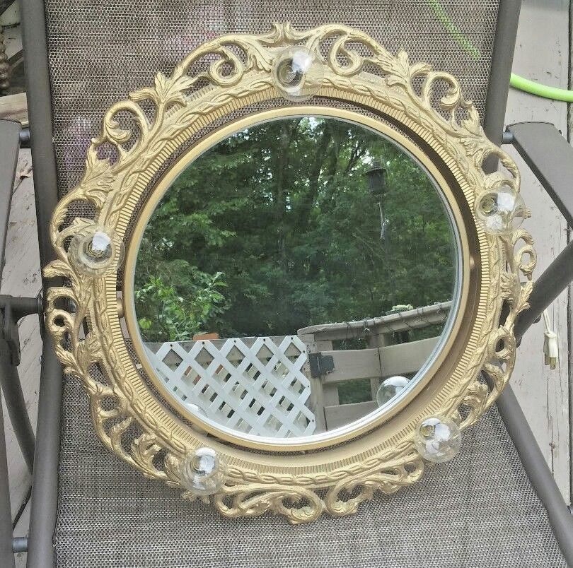 Old Hollywood Regency Vintage Lighted Vanity Mirror