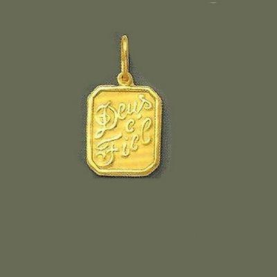 696834dedaa9b Pingente de ouro 18k 750 Deus e Fiel Tamanho 1,4x1,2 cm sem argola e 2x1,2  cm com argola Peso medio 1 gramas Prazo de remessa de 5 a 10 dias apos  liberacao ...
