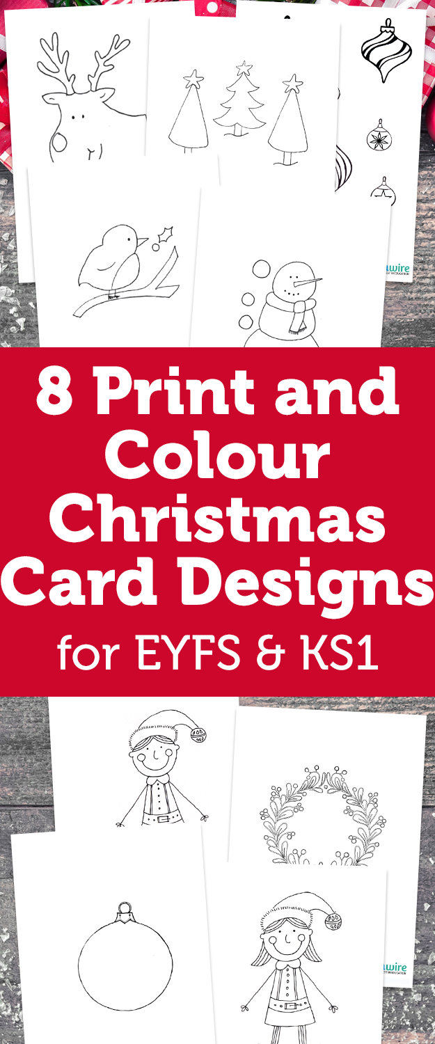 8 print and colour christmas card designs