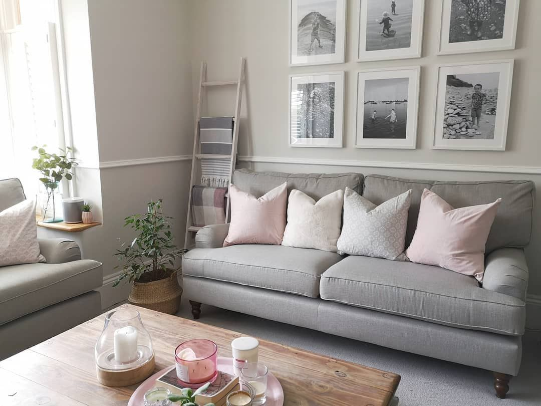 Pink And Grey Living Room In A Period Property With Grey Sofa And Pink Cushions Diy White Blanket La Living Room Grey Taupe Living Room Grey Sofa Living Room