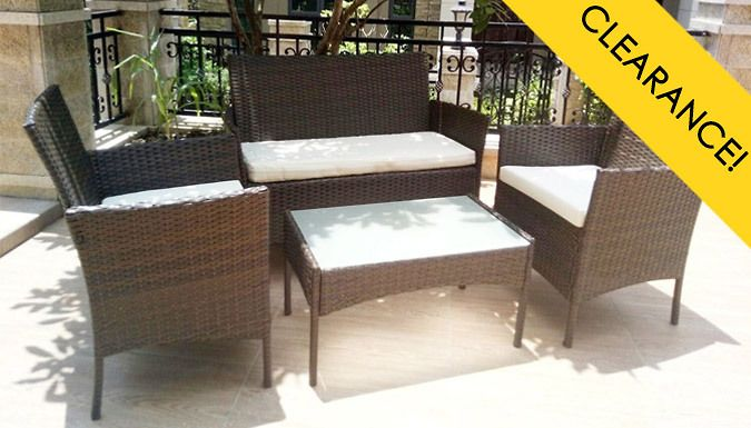 4-Seater Weather Resistant Rattan Effect Furniture Set With Table