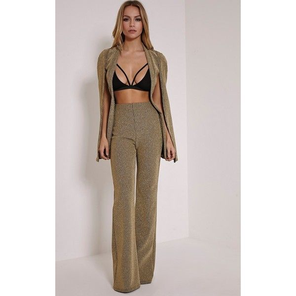 Rita Gold Metallic Ribbed Palazzo Trousers ($38) ❤ liked on Polyvore featuring pants, gold, pinstripe trousers, flared trousers, pinstripe pants, brown palazzo pants and brown pinstripe pants