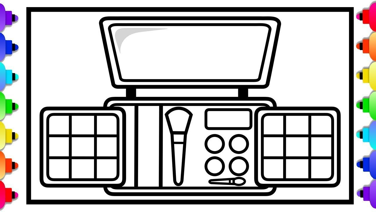 Makeup Tool Drawing And Coloring Page For Kids How To Draw A Makeup K Coloring Pages For Kids Makeup Kit For Kids Makeup Tools