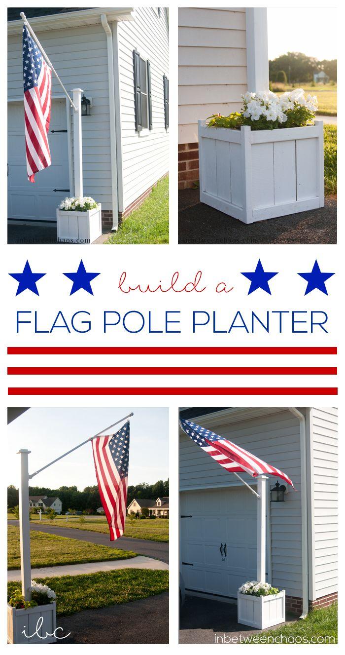 Build Your Own Flag Pole Planter Inbetweenchaos Com Garden Flag Pole Flag Pole Landscaping Flag Pole