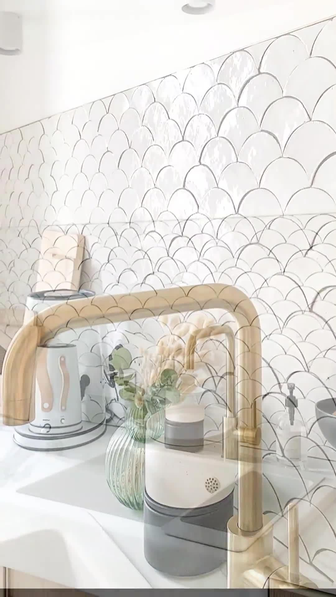 Photo of White tile mirror kitchen | MOSAIC FACTORY