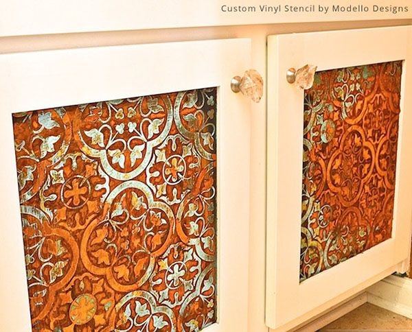 How To Paint Vinyl Bathroom Cabinets stenciled bathroom cabinet doors with modern masters metal effects
