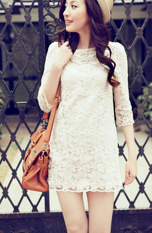 White Round Neck Lace Embroidery Dress