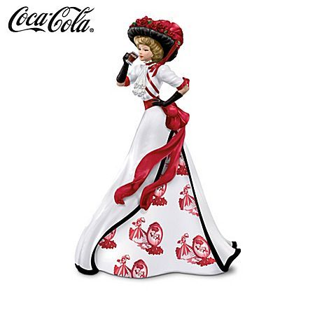 ... Vintage Style Coca Cola Girl Figurine with Toile Pattern Gown | eBay