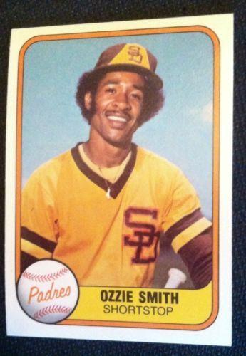 Ozzie Smith 1981 Fleer 488 Early Career Card San Diego Padres Baseball Cards Baseball Card Values Baseball