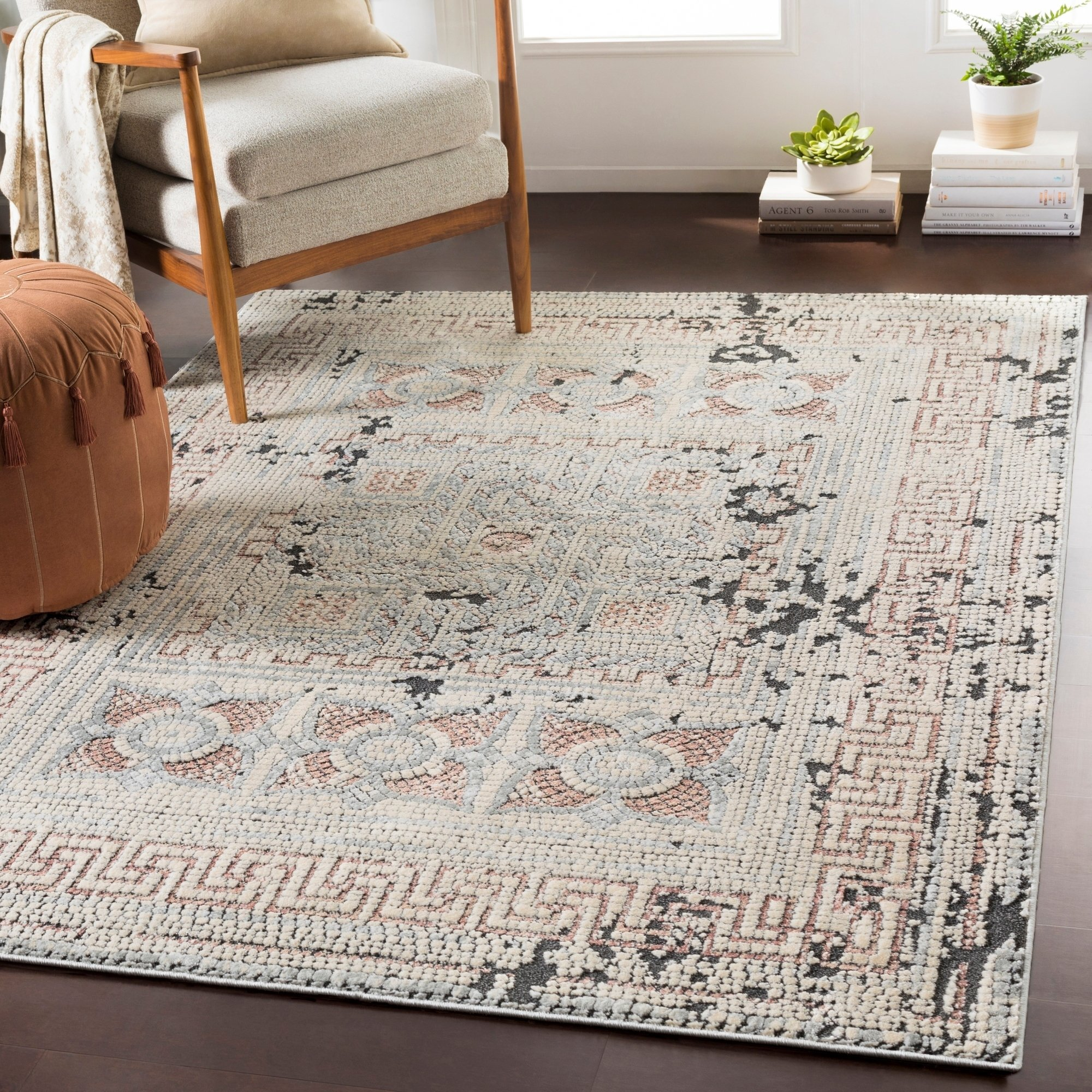 Padua Blush Gray Distressed Mosaic Area Rug 7 10 X 10 3 Brown Black 7 10 X 10 3 Beige Area Rugs Rugs Colorful Rugs