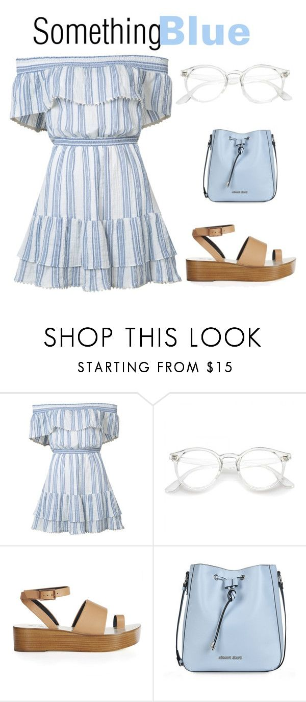 """""""Something Blue"""" by orangehairgel ❤ liked on Polyvore featuring LoveShackFancy, TIBI and Armani Jeans"""