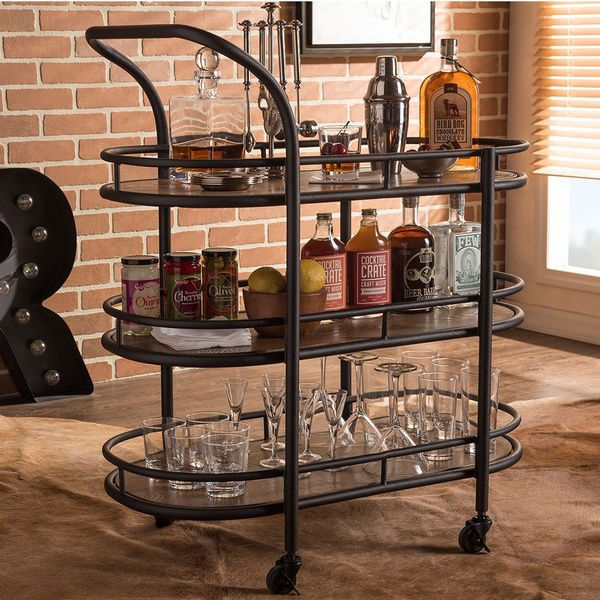 baxton studio karlin rustic industrial mobile kitchen bar wine serving cart with textured antique black metal - Dining Room Serving Carts