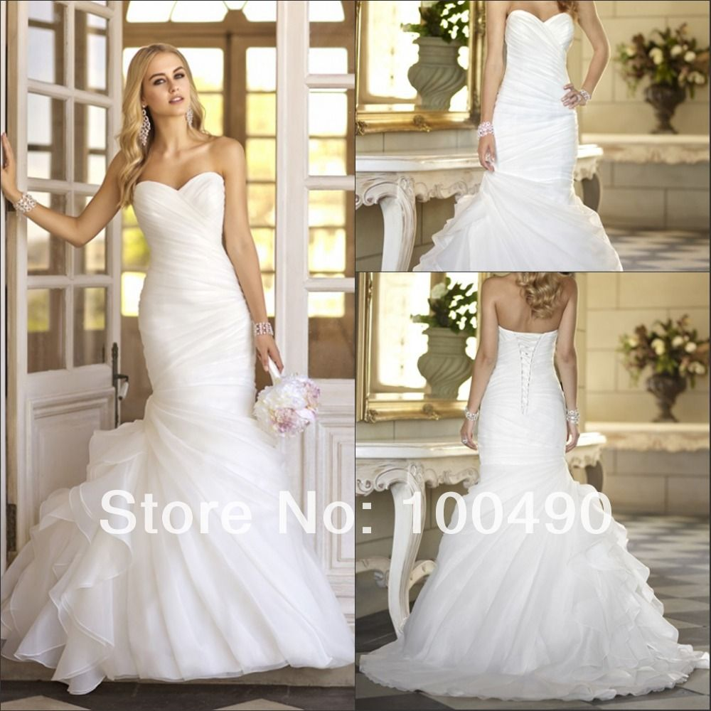 Fantasy diagonal pleat sweetheart neckline organza side ruffles ...