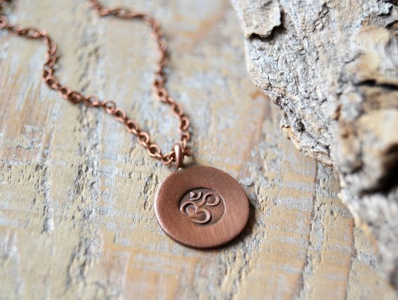 OM necklace - yoga jewelry - copper om ohm aum necklace - mens yoga necklace…
