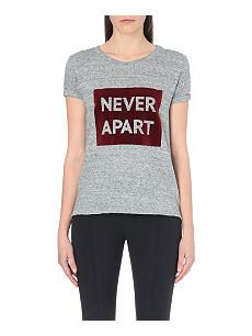 SANDRO Flocked text print cotton t-shirt