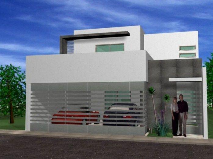 Fachadas de casas con rejas horizontales grises puertas for Puertas para casas minimalistas