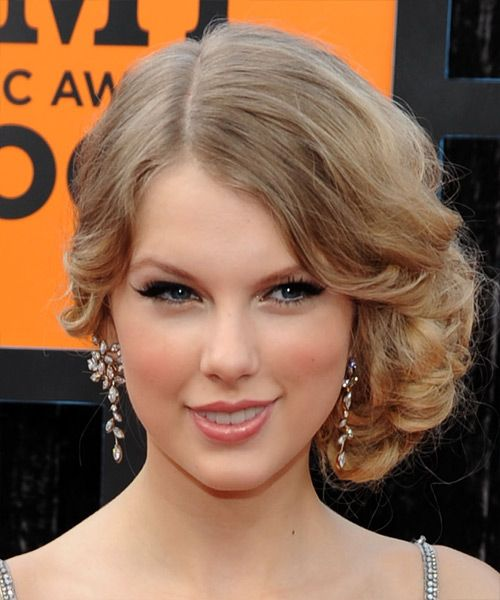 View And Try On This Taylor Swift Updo Long Curly Formal Wedding Hairstyle Medium Blonde Champagne