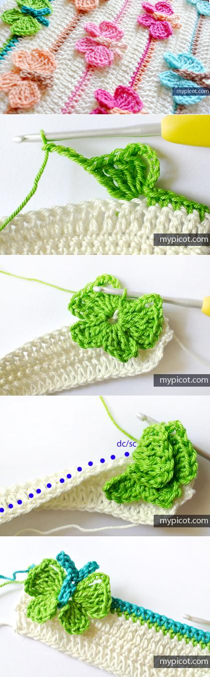 Lindo punto de mariposas crochet incorporadas al tejido No ...