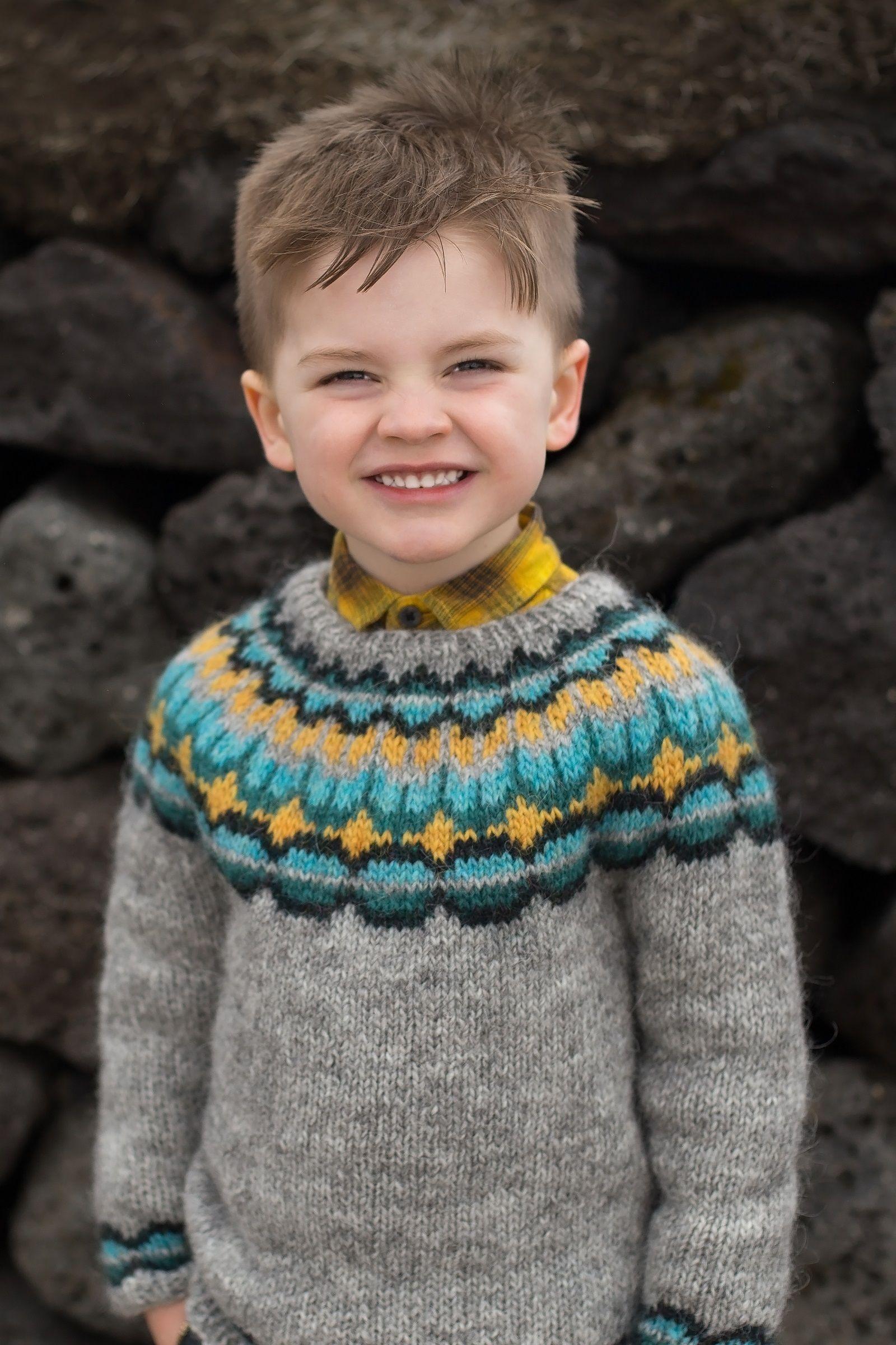 ceb7faf0 boys kids icelandic sweater, photo from tincanknits, lopi knitting pattern,  fuzzy fluffy childs