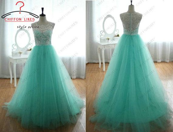 Prom dress lace tulle party dress Custom Made TurquoiseTulle Prom Dress Ball Gown Wedding Bridesmaid Dress Porm dress blue evening gown on Etsy, $115.00