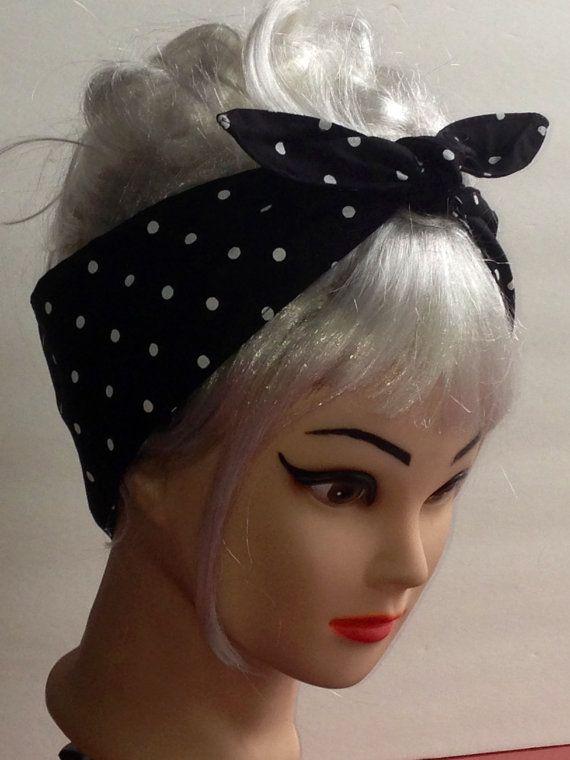 White Polka Dots on Black Headband Pin-up Vintage Retro Style 50s  Rockabilly Head Scarf Wrap 46e9fba7817