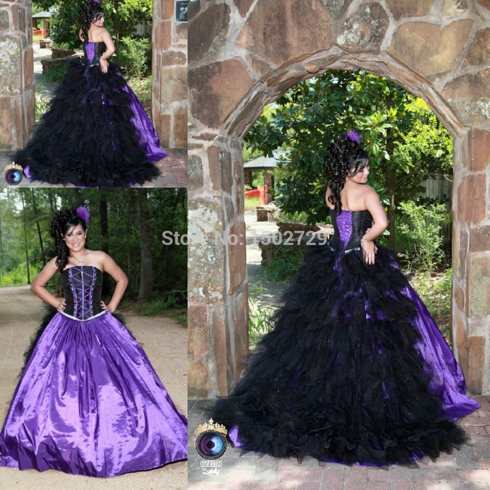 2015-Purple-And-Black-Ball-font-b-Gown-b-font-Gothic-font-b-Wedding ...