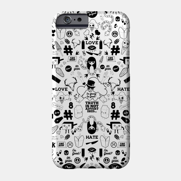 So Young So Good Black and White Skull Pop Culture Doodle