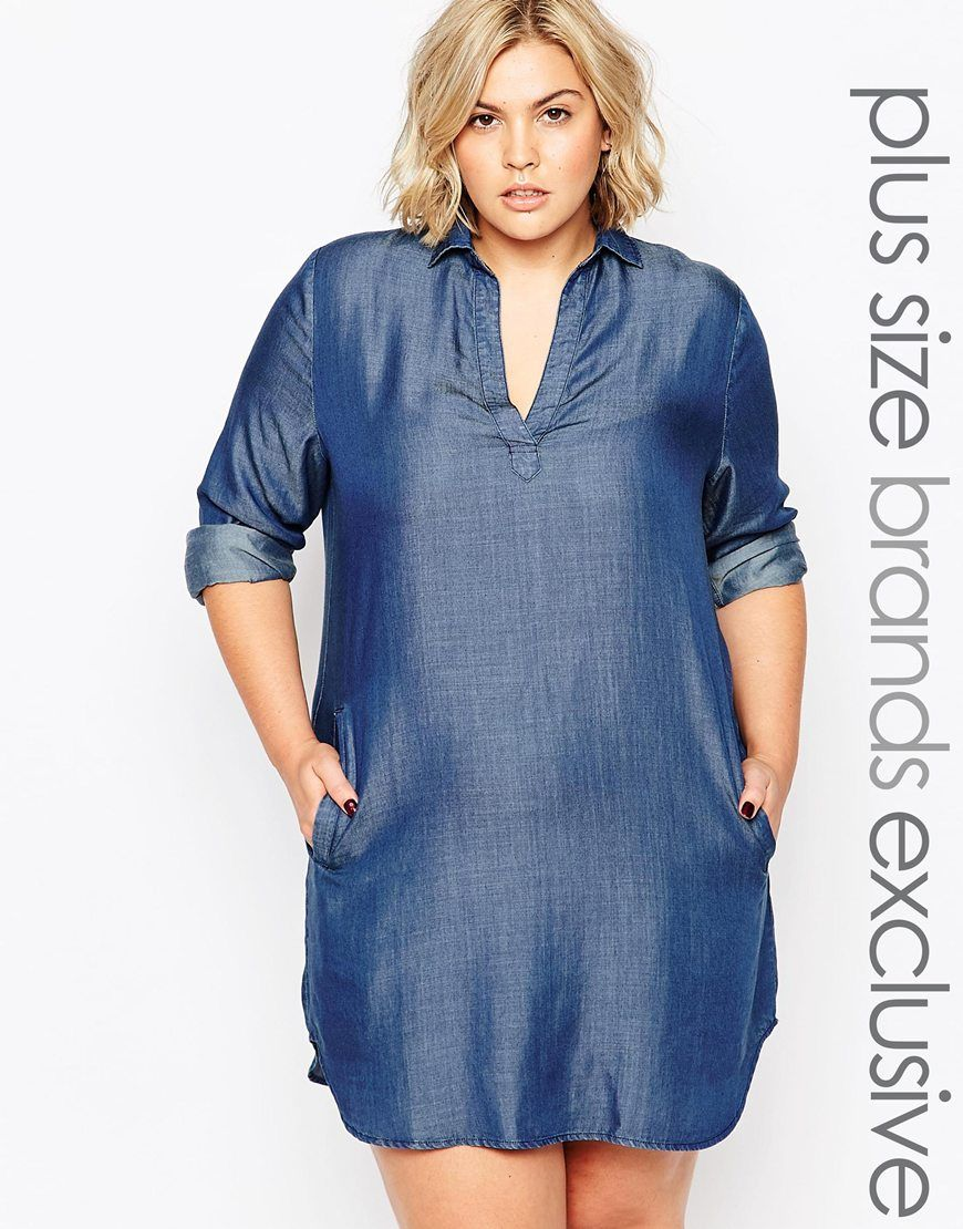 Image 1 ofAlice & You Chambray Longline Shirt Dress