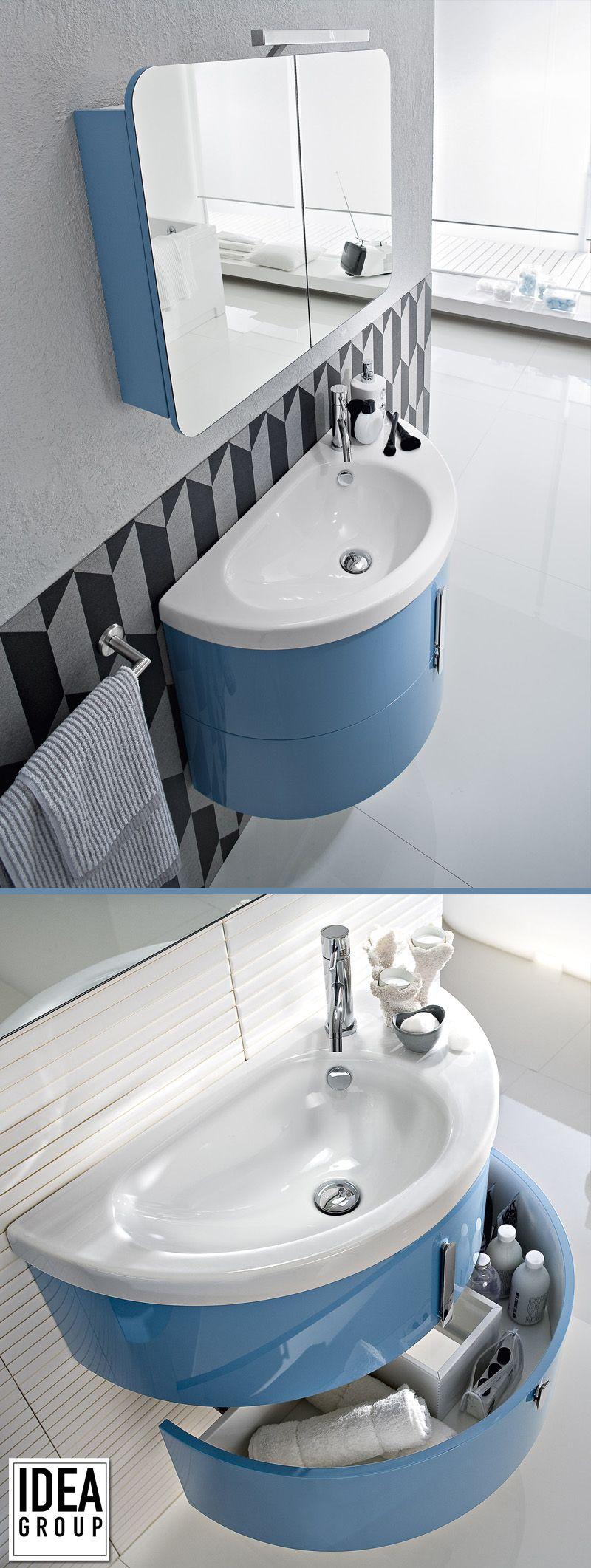 Salle De Bain Moon Forme Demi Lune Coloris Mobilier Bleu Idea